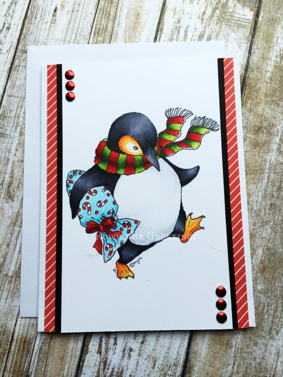 Rowhouse Greetings | Christmas | Penguin with Gift by Mo's Digital Pencil