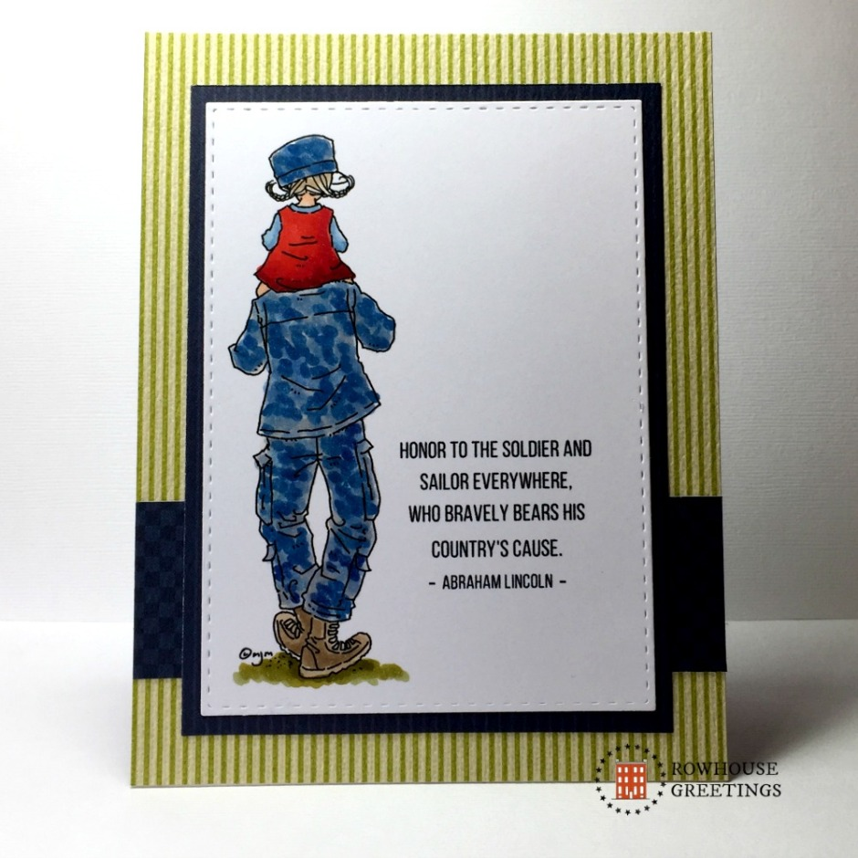 Rowhouse Greetings | Veterans Day | Soldier's Shoulders Girl by Mo's Digital Pencil