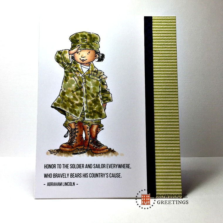 Rowhouse Greetings | Veterans' Day | Soldier Girl by Mo's Digital Pencil
