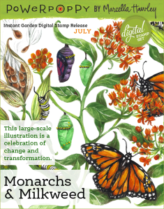 Power Poppy Monarchs and Milkweed Digital Stamp