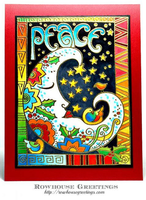 Rowhouse Greetings | Peace Moon (Laurel Burch) by Stampendous